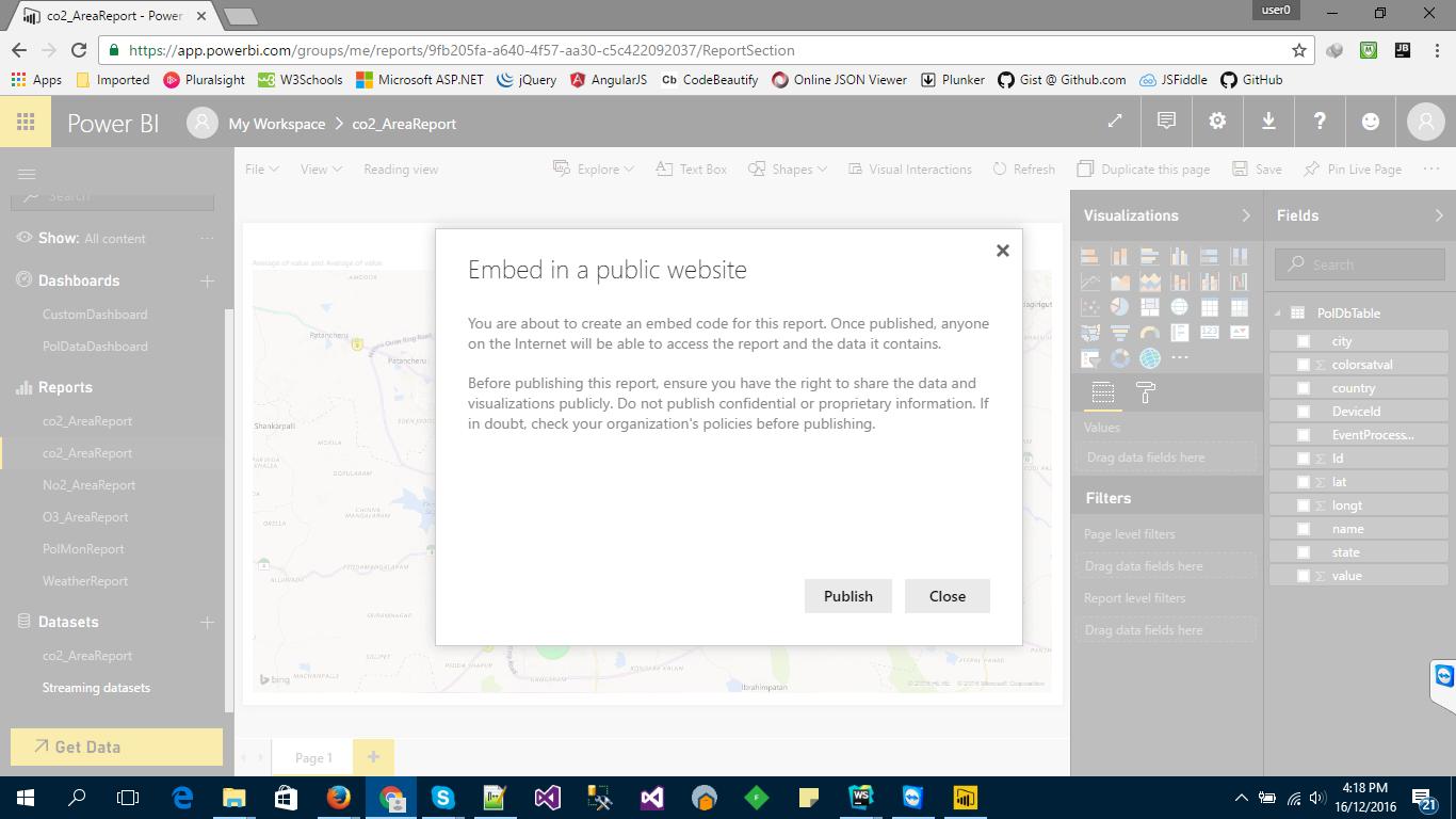 Create a Power BI report and embed it in custom web app